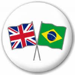 Great Britain and Brazil Friendship Flag 25mm Flat Back